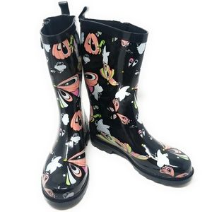 Rubber Mid Calf Rain Boots, RB-3170, Butterly